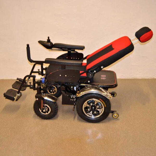 El-kørestol med ryglæn, der kan lægges helt ned